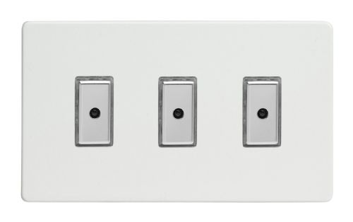 Varilight JDQE103S Screwless Premium White 3 Gang V-Pro Remote/Touch Master LED Dimmer 0-100W